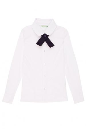 Белая рубашка с декоративным галстуком President School. Цвет: белый
