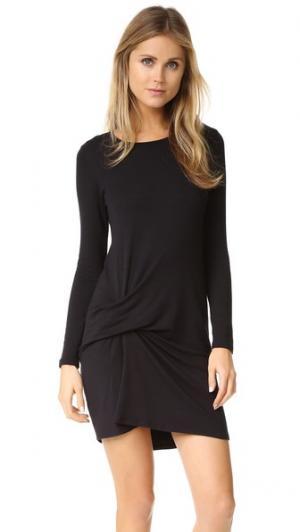 Платье со складками спереди Riller & Fount. Цвет: черная махровая ткань