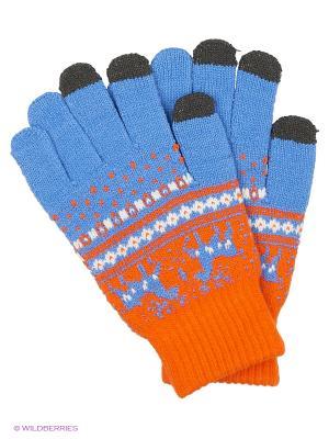 Перчатки для сенсорных экранов TERRITORY. Цвет: голубой, оранжевый