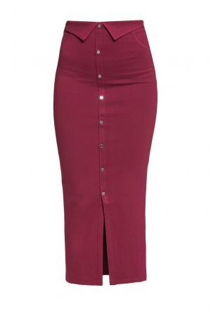 Элегантная юбка – карандаш на пуговицах с высокой посадкой PZ-190002 Sense. Цвет: красный