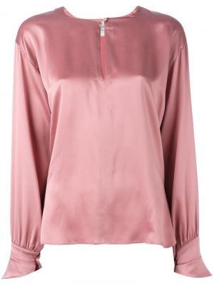 Блузка с вырезом замочная скважина Forte. Цвет: розовый и фиолетовый