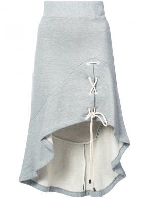Асимметричная юбка со шнуровкой Jonathan Simkhai. Цвет: серый
