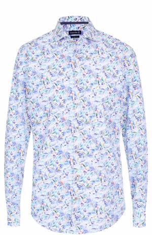 Хлопковая рубашка с принтом Jacques Britt. Цвет: бирюзовый