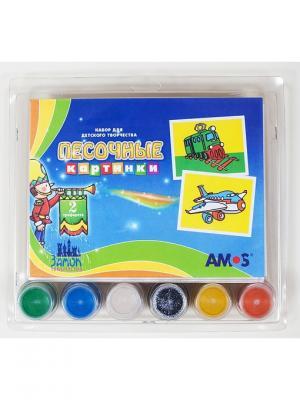 Набор для детского творчества Песочные картинки-самолет и поезд 2 кар-ки, 6цв. песка по 40г AMOS. Цвет: синий