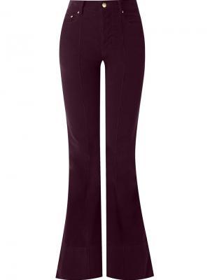 Расклешенные бархатные брюки Amapô. Цвет: розовый и фиолетовый