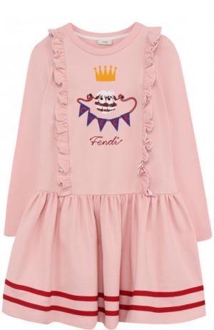 Хлопковое платье с оборками и контрастной вышивкой Fendi Roma. Цвет: розовый