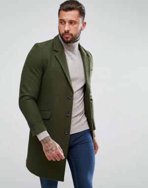 ASOS Пальто цвета хаки из шерстяной смеси. Цвет: зеленый