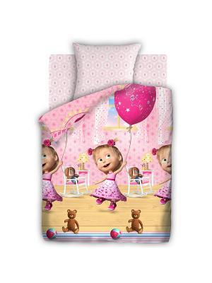 Комплект постельного белья 1,5 бязь День рождения Маша и медведь. Цвет: белый