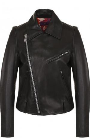 Кожаная куртка с косой молнией и отложным воротником Yohji Yamamoto. Цвет: черный