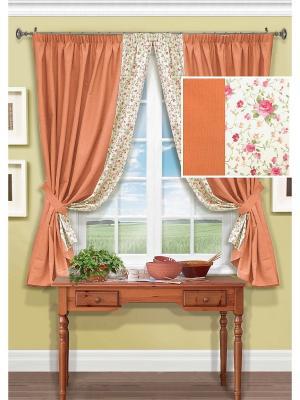 Комплект штор Annika Kauffort. Цвет: оранжевый, розовый, белый