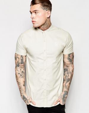 SikSilk Рубашка зауженного кроя с воротником на пуговицах. Цвет: stone