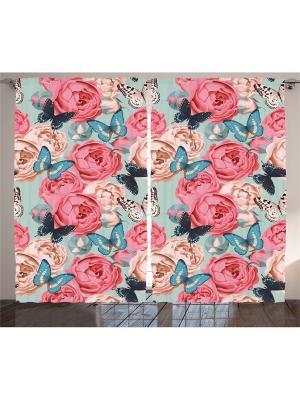 Комплект фотоштор для гостиной Розы и бабочки на голубом, плотность ткани 175 г/кв.м, 290*265 см Magic Lady. Цвет: розовый, бежевый, голубой