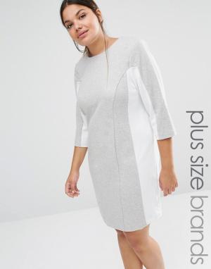 Carmakoma Цельнокройное платье с контрастными вставками. Цвет: серый