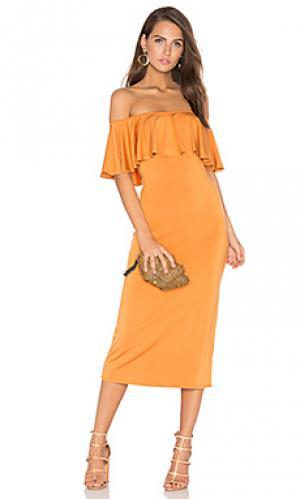 Миди платье с рюшами Rachel Pally. Цвет: оранжевый