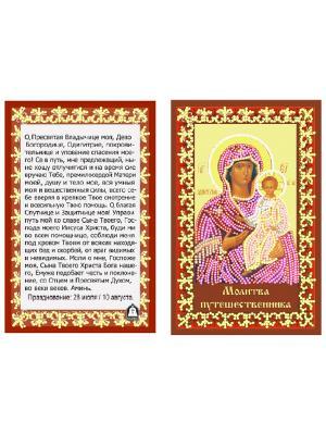 Шелк с нанесенным рисунком  Молитва путешественника Матренин Посад. Цвет: желтый, бежевый, коричневый, красный