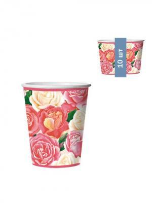Набор одноразовых стаканов Розовый букет, 0,25 л, 10 шт/упак Bulgaree Green. Цвет: розовый, белый, желтый