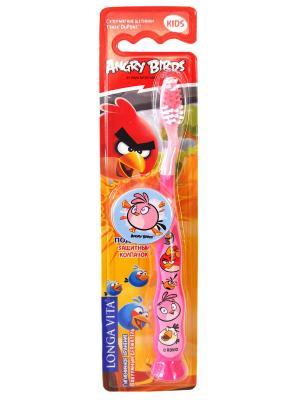 Детская зубная щетка Angry Birds, мануальная с защитным колпачком Longa Vita. Цвет: розовый