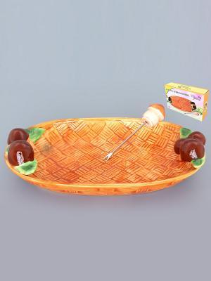 Блюдо сервировочное Грибы Elan Gallery. Цвет: светло-коричневый, оранжевый
