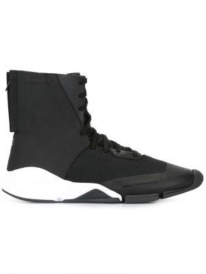 Хайтопы на шнуровке Y-3. Цвет: чёрный
