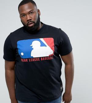Majestic Черная футболка с логотипом-щитом PLUS MLB. Цвет: черный