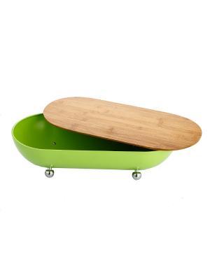 Хлебница на ножках с разделочной доской, нержавеющая сталь,  зеленый Elff Ceramics. Цвет: зеленый