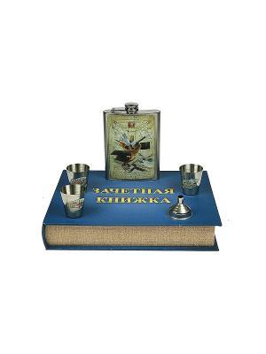 Подарочный набор Технарь: шкатулка, фляжка, воронка, стаканчики Русские подарки. Цвет: синий, бежевый