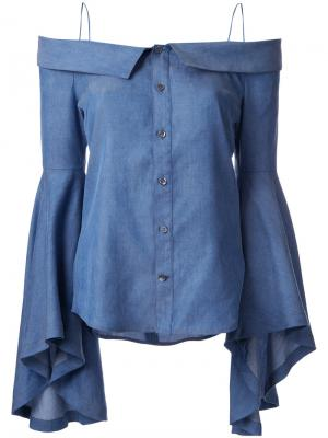 Джинсовая блузка с открытыми плечами G.V.G.V.. Цвет: синий