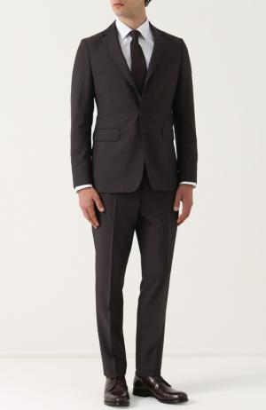Шерстяной костюм с пиджаком на двух пуговицах Burberry. Цвет: темно-коричневый