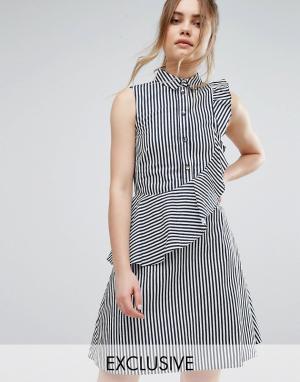 Closet London Платье-рубашка в полоску с оборкой - Мульти 5576699
