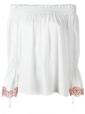 Блузка с контрастной вышивкой Alexander McQueen. Цвет: красный