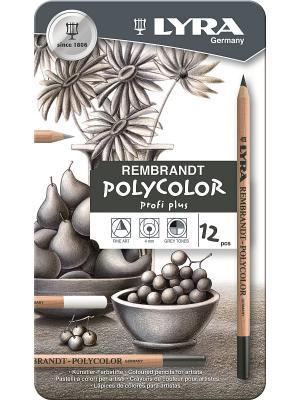 REMBRANDT POLYCOLOR Художественны карандаши, 12 цв в метал коробке оттенки серого. Lyra. Цвет: белый, черный, коричневый