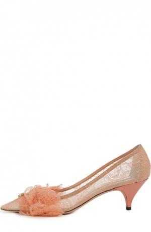 Кружевные туфли с аппликацией Rochas. Цвет: розовый