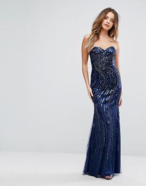 Forever Unique Декорированное платье макси с вырезом в форме сердечка. Цвет: синий