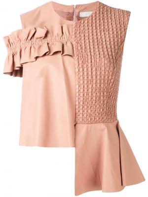 Асимметричная футболка Drome. Цвет: розовый и фиолетовый