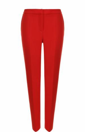 Шерстяные брюки со стрелками Oscar de la Renta. Цвет: красный