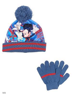 Комплект шапка и перчатки Sun City. Цвет: синий