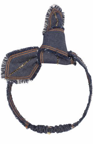 Повязка для волос с бантом и стразами Colette Malouf. Цвет: синий