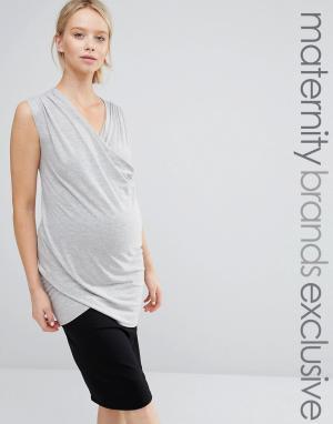 Club Lounge Maternity Трикотажный топ без рукавов с запахом для беременных L Mat. Цвет: серый