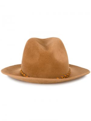 Шляпа-федора Lexa с помпоном Yosuzi. Цвет: коричневый