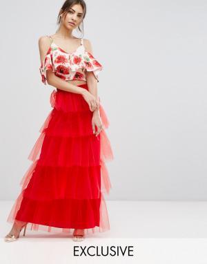 True Violet Ярусная юбка макси из тюля. Цвет: красный