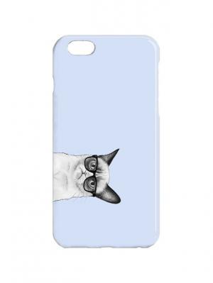 Чехол для iPhone 6 Недовольный кот в очках на голубом Арт. IP6-313 Chocopony. Цвет: голубой, серый