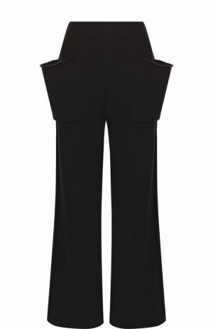Хлопковые расклешенные брюки с накладными карманами Yohji Yamamoto. Цвет: черный