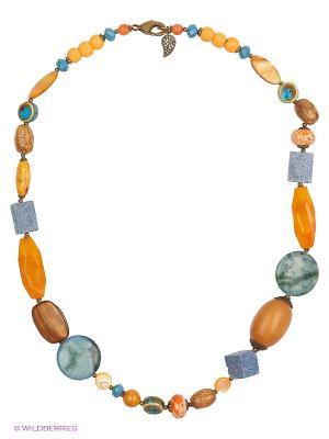 Колье Роман с камнем. Цвет: оранжевый, синий
