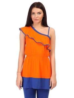 Туника MONDIGO. Цвет: оранжевый, синий