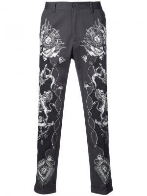 Брюки с принтом Dolce & Gabbana. Цвет: серый