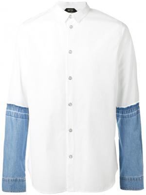 Рубашка с джинсовыми рукавами Nº21. Цвет: белый