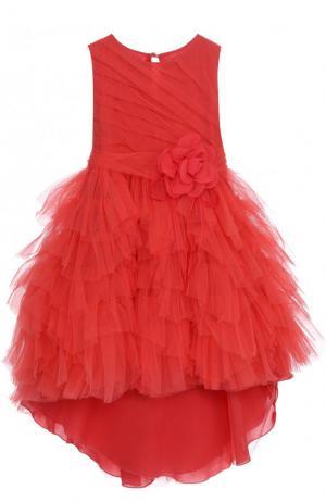 Многослойное платье асимметричного кроя с декоративным поясом Aletta. Цвет: красный