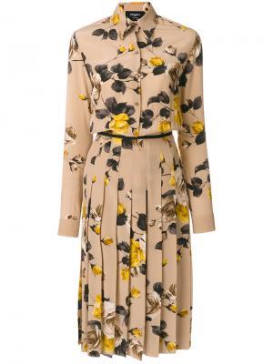 Платье-рубашка с цветочной вышивкой Rochas. Цвет: телесный
