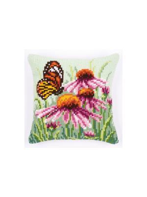 Набор для вышивания лицевой стороны наволочки Рудбекия с бабочкой 40*40см Vervaco. Цвет: зеленый, коричневый, оранжевый, розовый