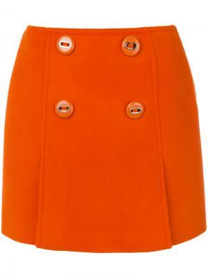 Юбка мини на пуговицах Prada. Цвет: жёлтый и оранжевый